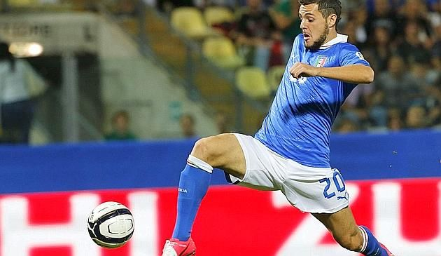 Italy's Destro shoots and scores against Malta during their 2014 World Cup qualifying soccer match at Braglia stadium in Modena