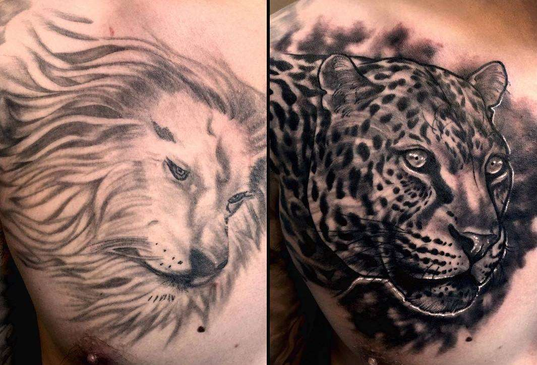 Tatuaggio cover up leone-leopardo