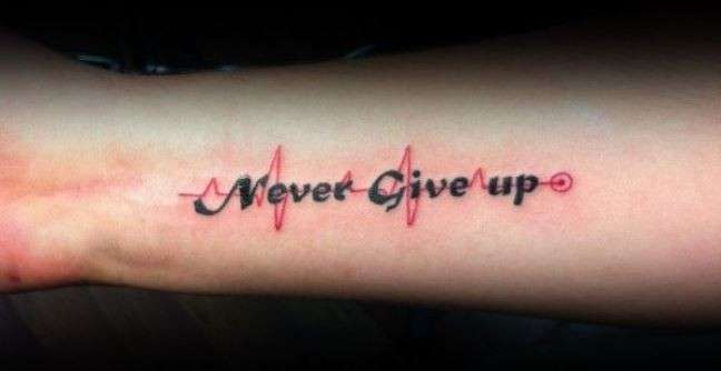 Scritta tattoo Never Give Up