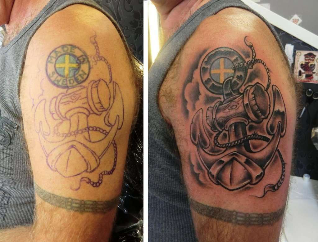 Tattoo cover up con ancora