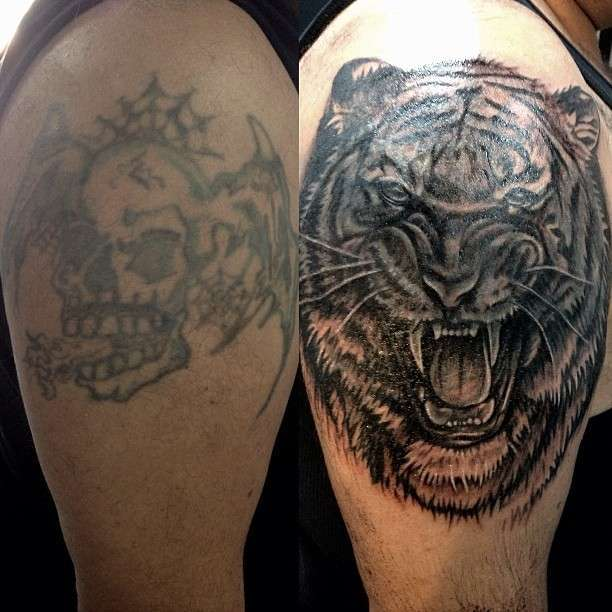 Tattoo teschio tigre