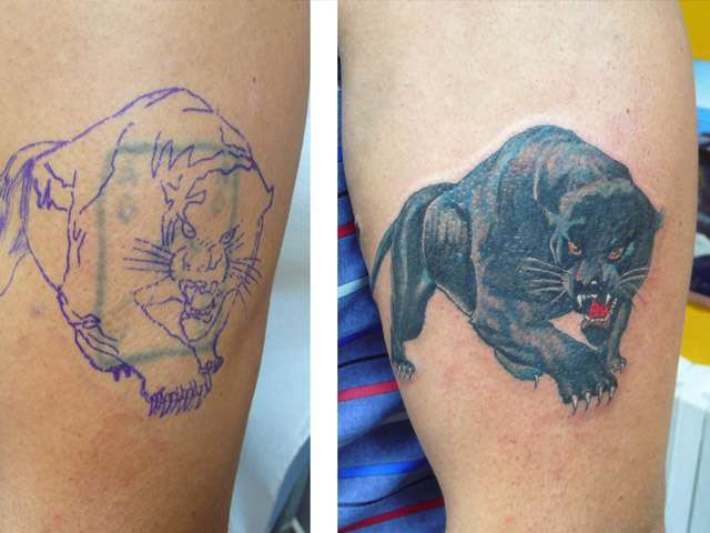 Tatuaggio cover up pantera