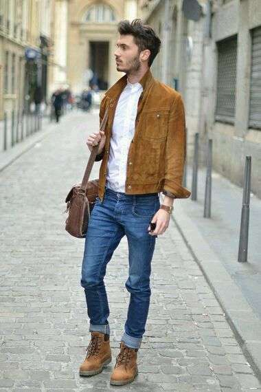 Giacca in suede e Timberland