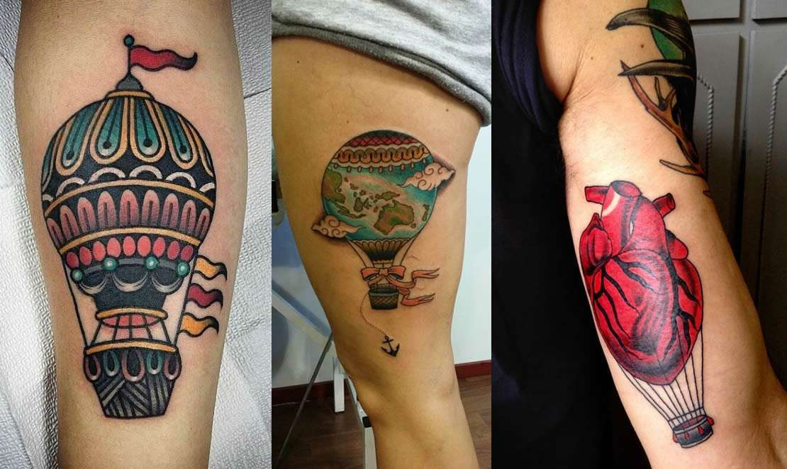 Tattoo hot air balloon per uomini